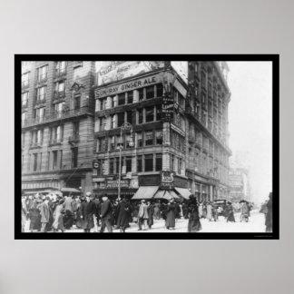 Million Dollar Corner NYC 1911 Poster