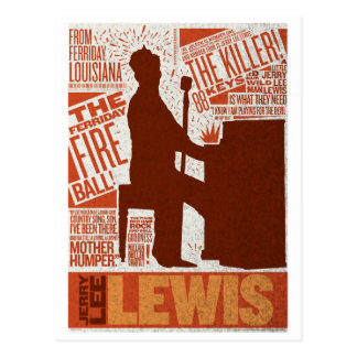 Million Dollar Quartet Lewis Type Postcard