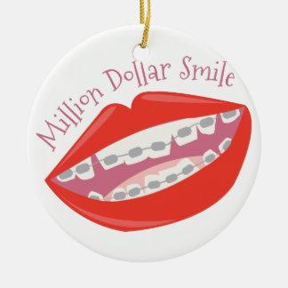 Million Dollar Smile Round Ceramic Decoration