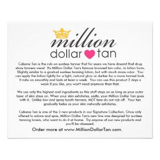 Million Dollar Tan's Cabana Tan Card 11.5 Cm X 14 Cm Flyer