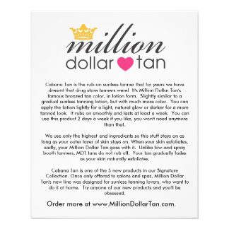 Million Dollar Tan's Cabana Tan Card Vertical 11.5 Cm X 14 Cm Flyer