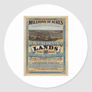 Millions of acres. Iowa and Nebraska 1872 Sticker