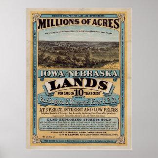 Millions of acres Iowa and Nebraska Posters