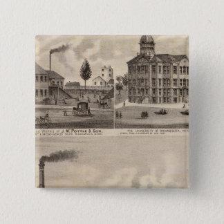 Mills and Lumberyard in Minnesota 15 Cm Square Badge