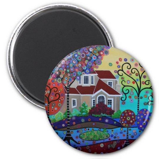 Milo's Whimsical Happy Summer Garden 6 Cm Round Magnet