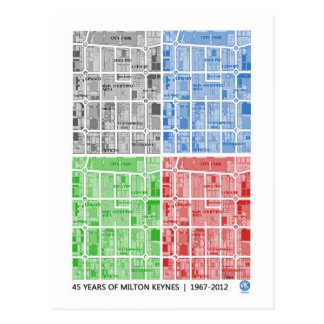Milton Keynes 45 years of... anniversary postcard