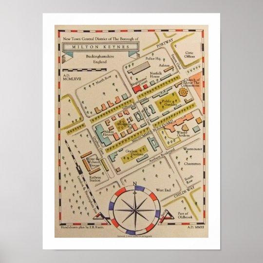 Milton Keynes Ancient Style Map Print Poster Art