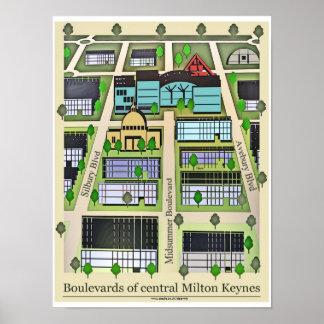 Milton Keynes Boulevards poster print