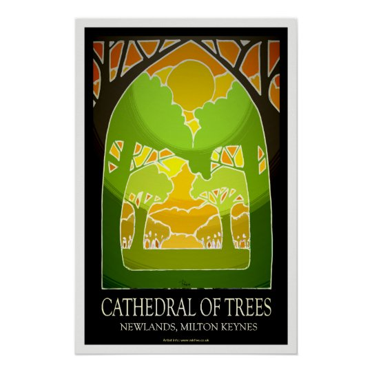 Milton Keynes' Cathedral of Trees poster art/print