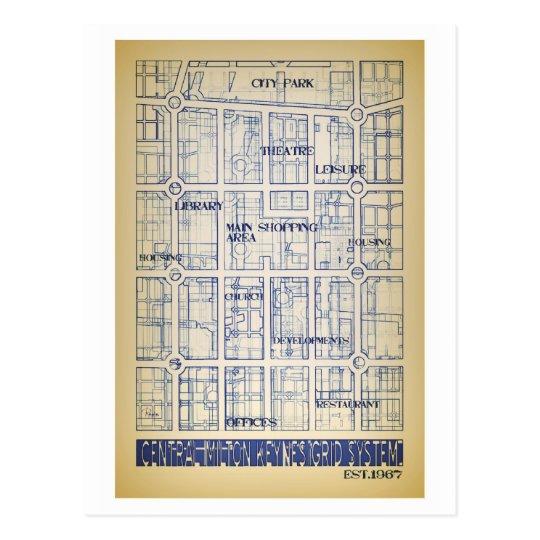 Milton Keynes central grid map postcard