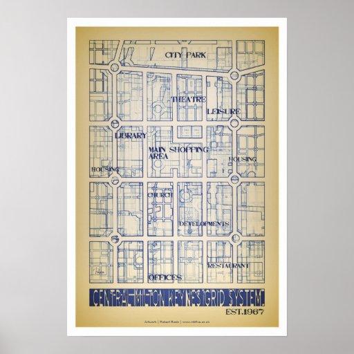 Milton Keynes Central Grid poster art/print