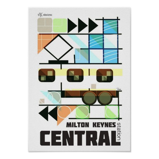 Milton Keynes Central Station new retro poster
