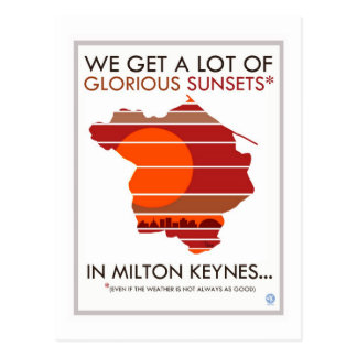 Milton Keynes glorious sunsets postcard