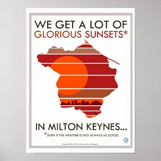 Milton Keynes glorious sunsets poster print
