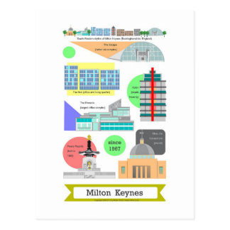 Milton Keynes landmarks postcard by Robert Rusin