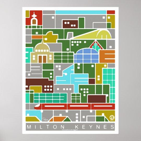 Milton Keynes panorama poster print