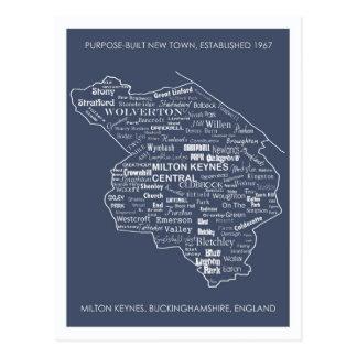 Milton Keynes Type Map postcard