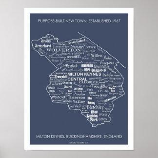 Milton Keynes Type Map poster print