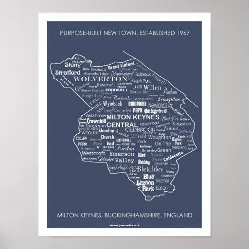 Milton Keynes Type Map poster/print