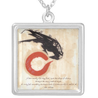 Milton Raven Quote Square Pendant Necklace