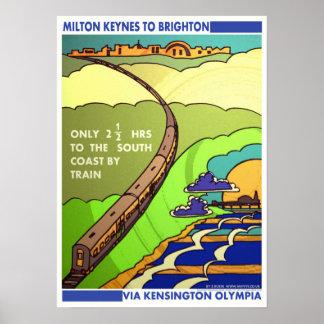 Milton to Brighton railway poster/print