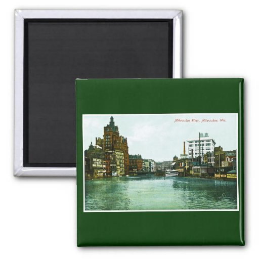 Milwaukee River, Milwaukee, Wisconsin Square Magnet