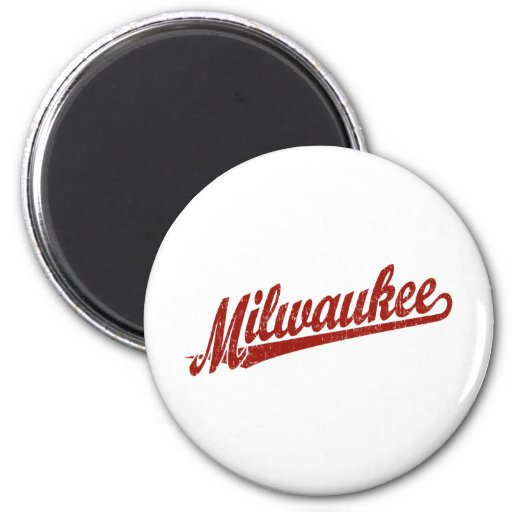 Milwaukee script logo in red distressed refrigerator magnet