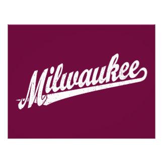 Milwaukee script logo in white distressed flyer