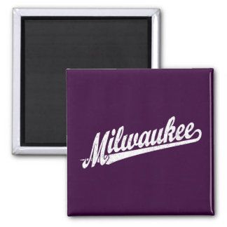 Milwaukee script logo in white distressed square magnet
