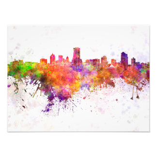 Milwaukee skyline in watercolor background photograph