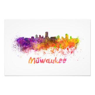 Milwaukee skyline in watercolor