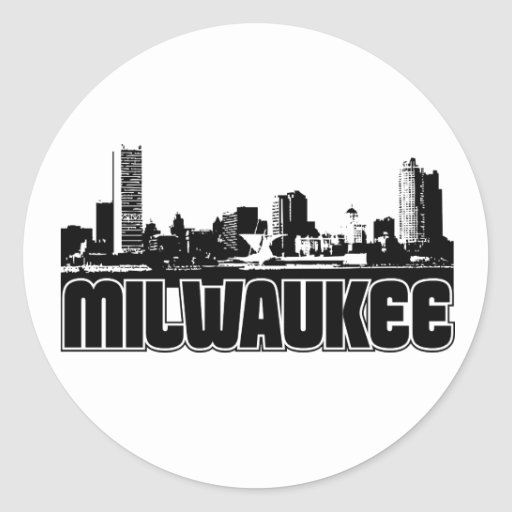 Milwaukee Skyline Round Stickers