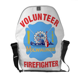 Milwaukee, WI Flag Volunteer Firefighter Cross Courier Bags