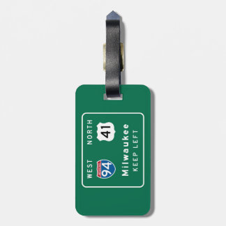 Milwaukee, WI Road Sign Luggage Tag