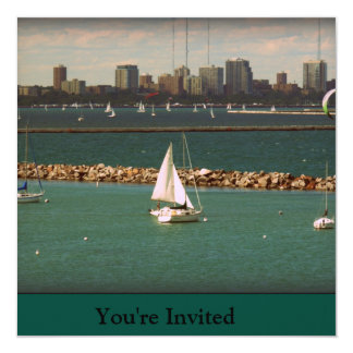 Milwaukee, WI Skyline 13 Cm X 13 Cm Square Invitation Card