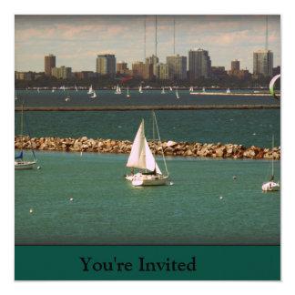 "Milwaukee, WI Skyline 5.25"" Square Invitation Card"