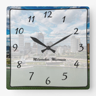 Milwaukee Wisconsin City Skyscrapers View Clock
