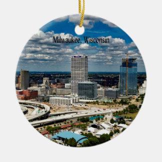Milwaukee, Wisconsin cityscape Round Ceramic Decoration