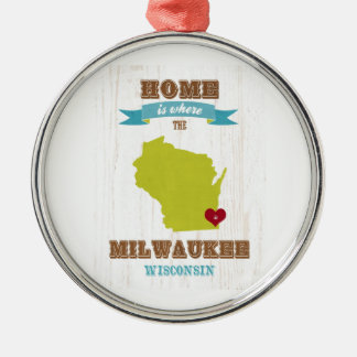 Milwaukee, Wisconsin Map – Home Is Where The Heart Christmas Ornament