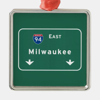 Milwaukee Wisconsin wi Interstate Highway Freeway Christmas Ornament