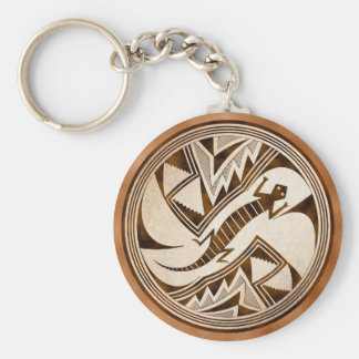 Mimbres Hiding Lizard Basic Round Button Key Ring