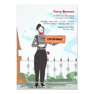 Mime Adore Birthday Party Invitation