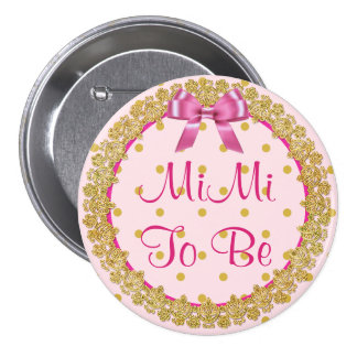 MiMi To Be Pink & Gold Baby Shower Button