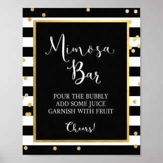 Mimosa Bar Black & Gold Sign Poster
