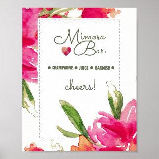 Mimosa Bar Sign | Floral Watercolor Design