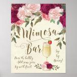 Mimosa Bar Wedding Sign Burgundy Pink