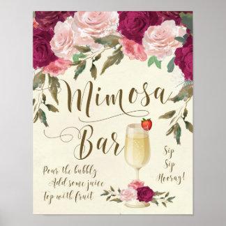 Mimosa Bar Wedding Sign Burgundy Pink Poster