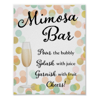 Mimosa Bar Wedding Sign Gold, Pink, Mint Poster