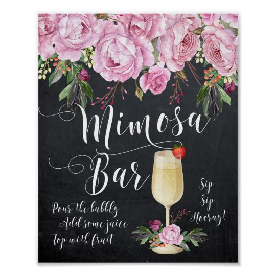Mimosa Bar Wedding Sign Lilac Floral Poster