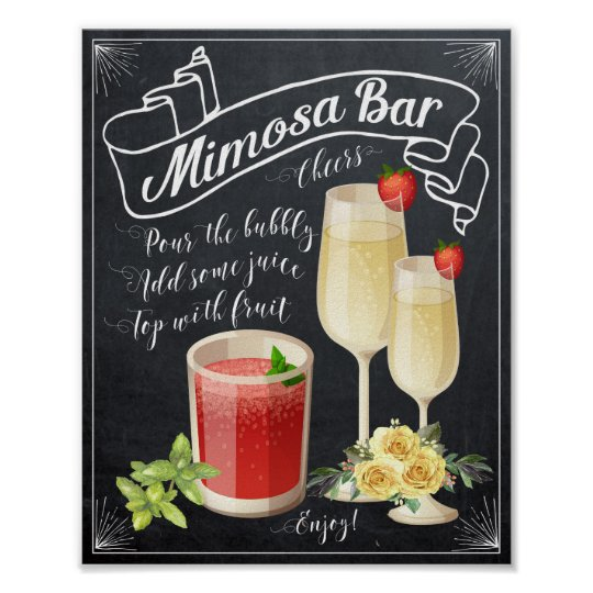Mimosa Bar Wedding Sign yellow roses BBQ